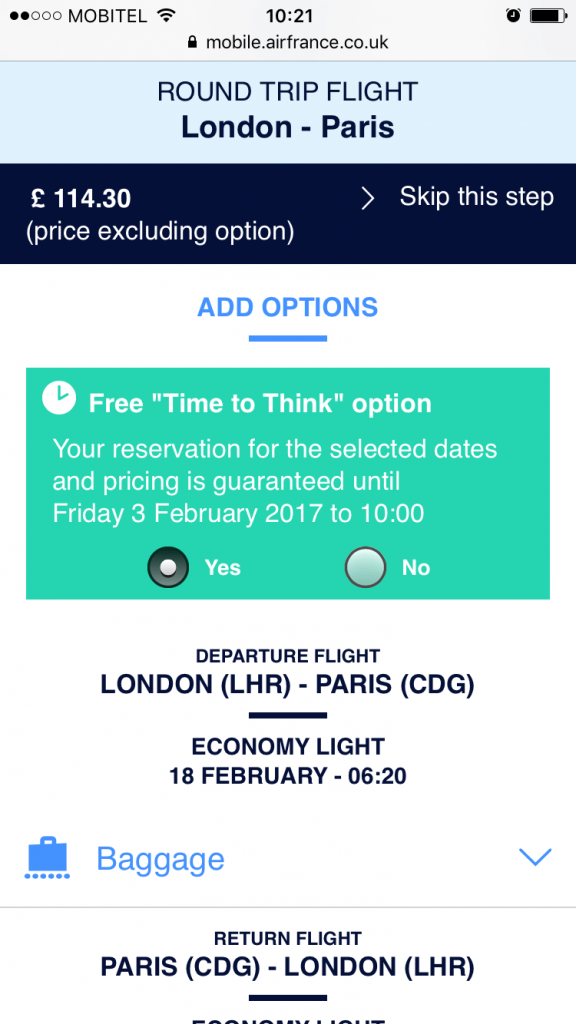 Example AirFrance time to think on mobile