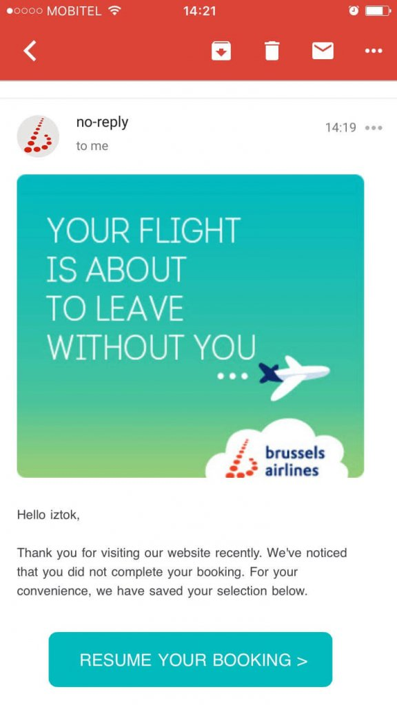 Example of Brussels booking abandonment email_mobile