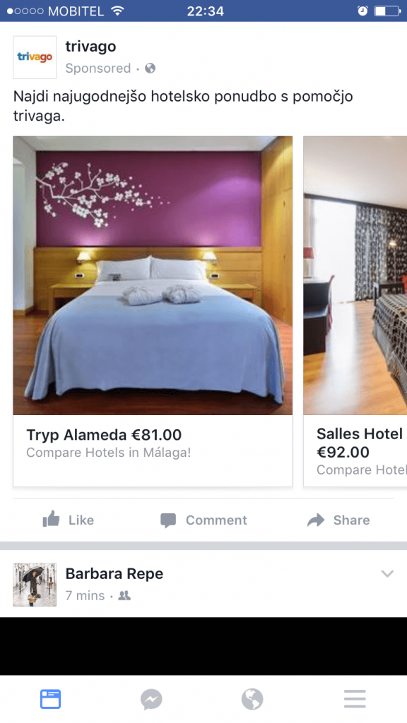 Example of facebook remarketing from Trivago