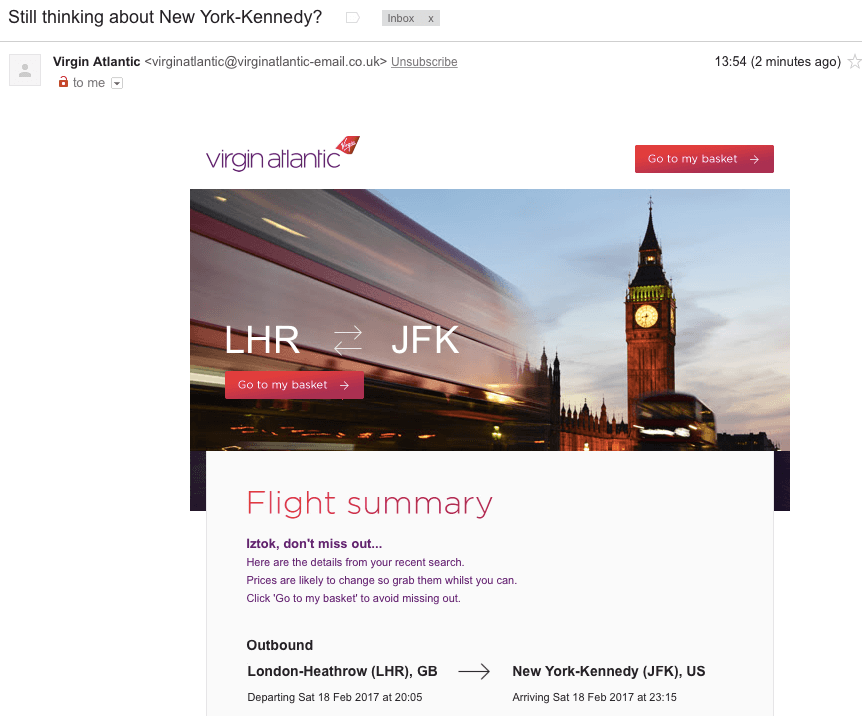 Example of abandonment email from Virgin Atlantic