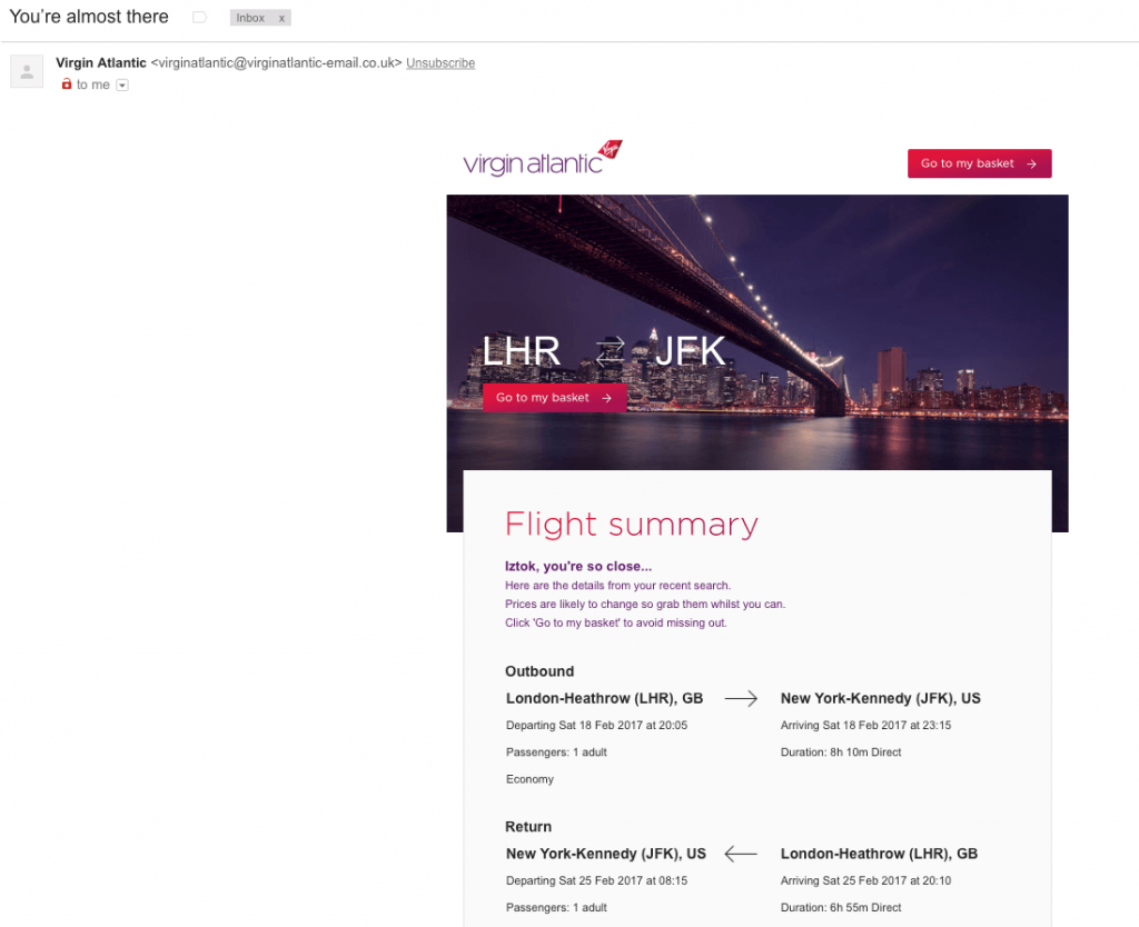 Example of abandonment email from Virgin Atlantic - No.2