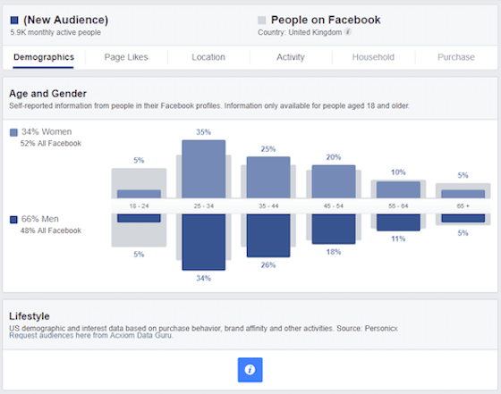 Using Facebook Audiences to see travellers age groups