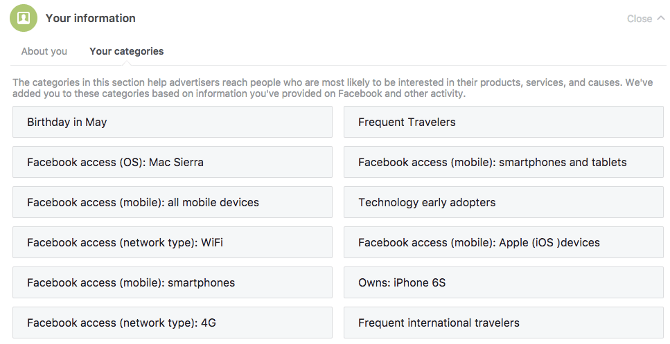 You can use Facebook to check yours or your travel personas data