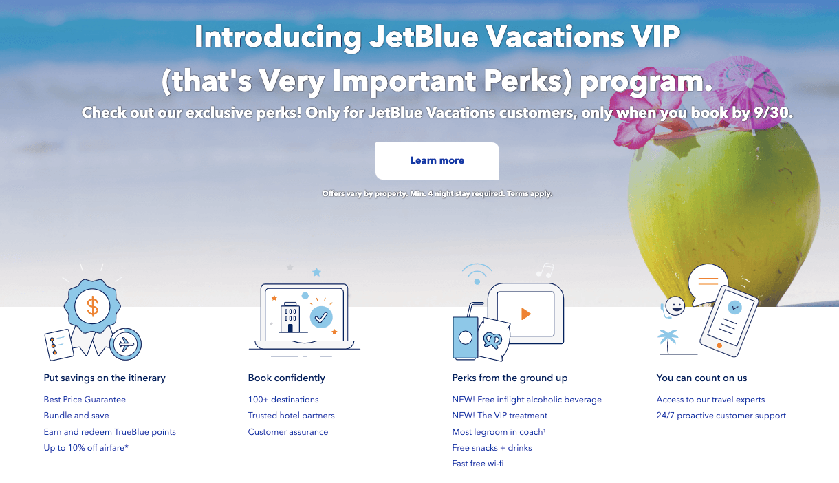 JetBlue airline cross-selling hotels - value proposition example 1
