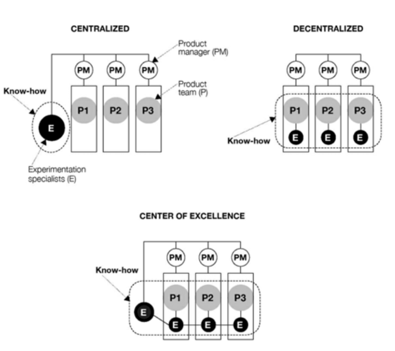Different organizational models for experimentation and digital product development