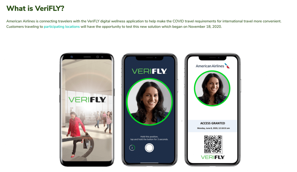 American Airlines VeriFLY app example