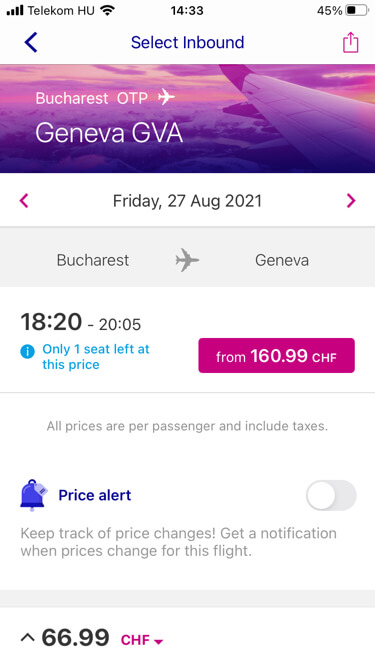 Wizz Air - price alert functionality
